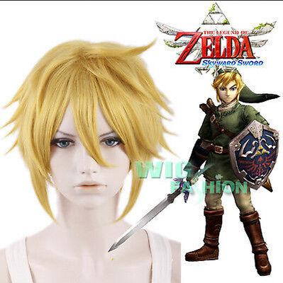2017 Hot The Legend Of Zelda Sky Ward Sword Link Short Blonde Anime Cosplay Wig