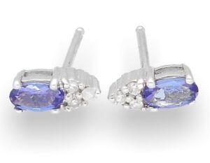 9Carat-White-Gold-Iolite-amp-Diamond-Cluster-Stud-Earrings-3x8mm