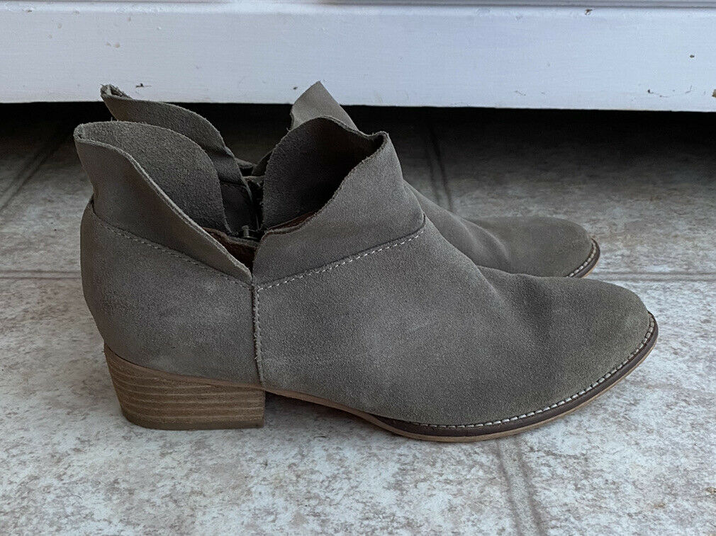 Seychelles Gray Grey Suede Leather Ankle Riding Booties Boots Size 7M