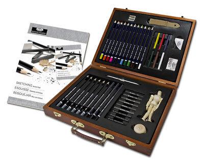 ARTIST PREMIER Drawing Sketching Set Graphite /& Charcoal Pencils /& Case SKT1600