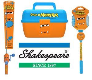 Shakespeare-Catch-A-Monster-Kids-Fishing-Combo-Kit-4-Colours-Children-039-s-Rod-Reel