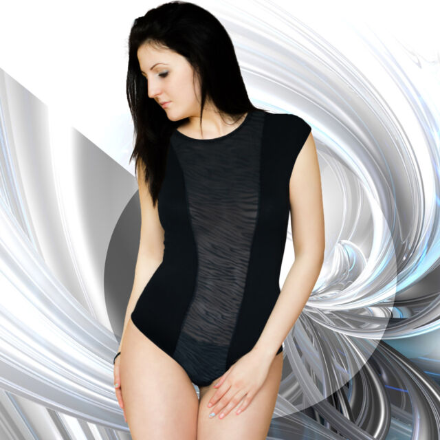 Womens New Leotard Bodysuit Mesh Front Drop Shoulder Ladies Body Top Size 8-16