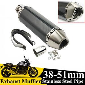 36-51mm-Universel-Silencieux-Moto-Tuyaux-Echappement-Exhaust-Fibre-Carbone-Pipe