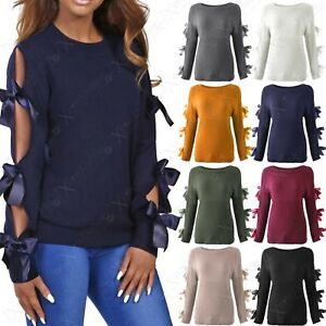 NEW-LADIES-TIE-BOW-SLEEVE-JUMPER-WOMEN-SLIT-RIBBON-ARM-KNITTED-PULLOVER-WARM-TOP
