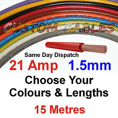 15m 1.5mm 21A 16 AWG 12v AUTO CABLE 21 AMP CAR WIRING LOOM WIRE AUTOMOTIVE