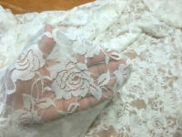 Rose Lace Soft 4 Way Stretch Cream/white Ivory Color Fabric Bty