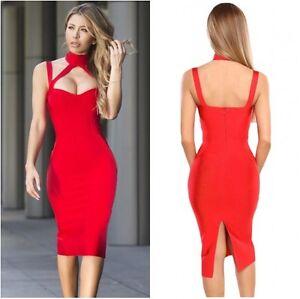 estilo rojo Uk de s con Vestido ajustado vendaje l m qwSaxEg