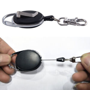 Retractable-Extendable-Key-Chain-Belt-Recoil-Key-Ring-Cord-Wire-Ring-Pull-New