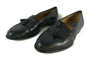 BOSTONIAN-FLORENTINE-Black-Leather-Tassle-Loafer-Slip-On-Dress-Shoes-Men-039-s-10-M