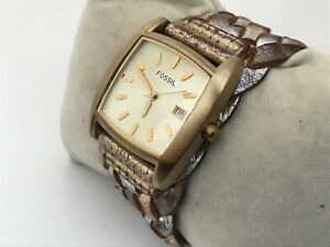 Fossil Women Watch Genuine Leather Gold Tone Band Analog Wrist Watch Date Calend