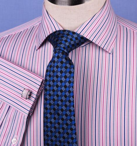 Pink Blue Soft Stripe Formal Business Dress Shirt Designer Stylish Fashion Style