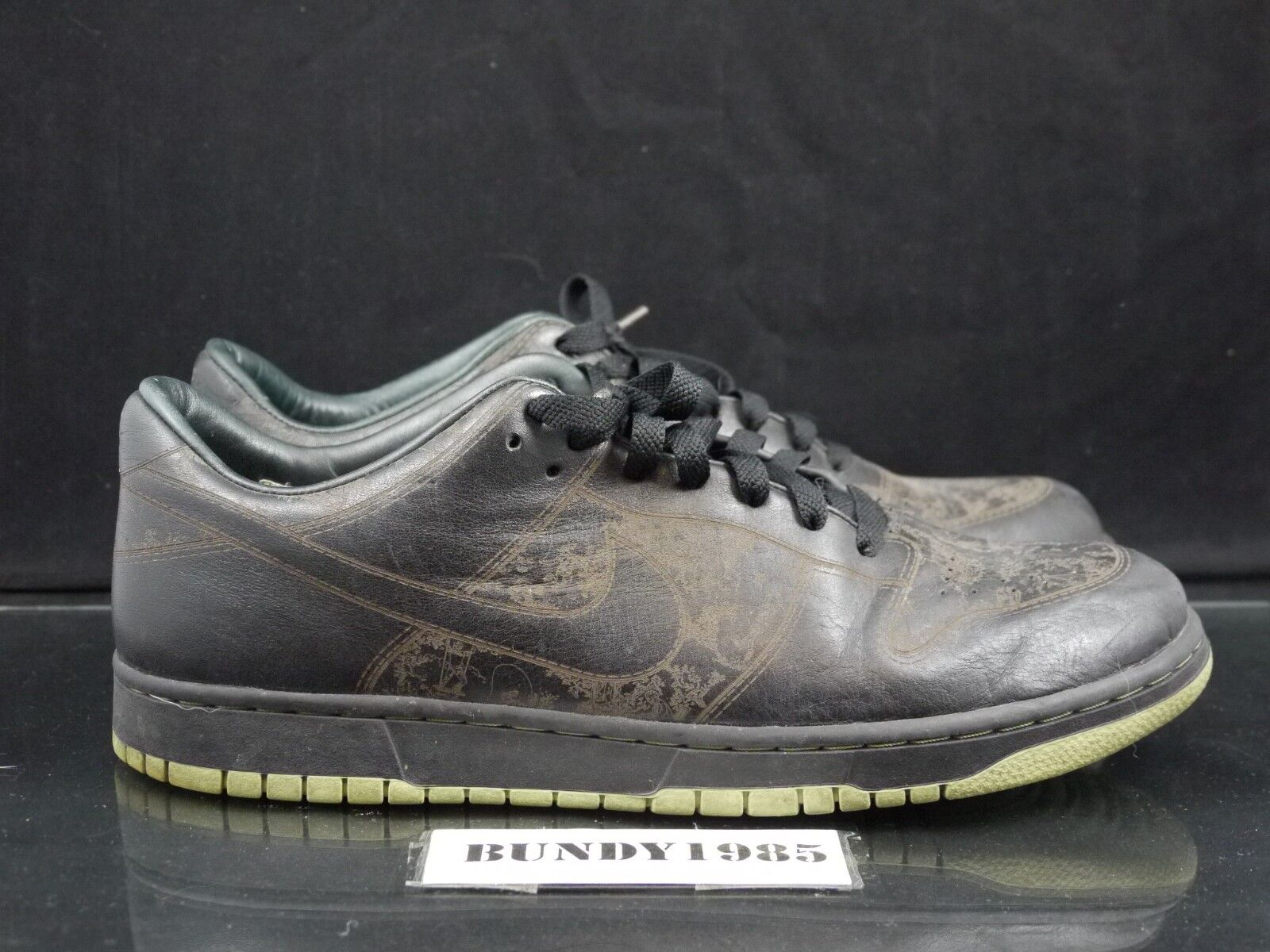 (P) 312424 001 Nike Dunk Low 1 Piece Laser black faded green Men's SZ 13