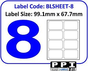 plain white blank address labels 8 per page a4 sheet 8 up 8tv