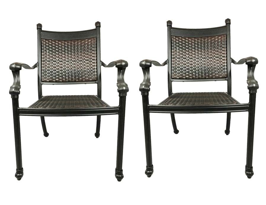 Outdoor Chairs Set Of 2 Cast Aluminum Patio Furniture Dining Wicker Balcony