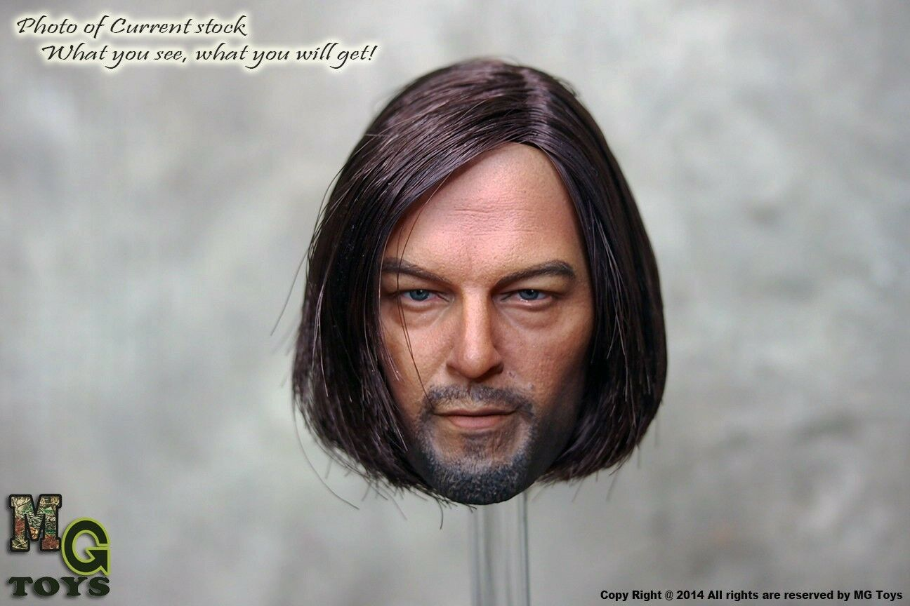 MG Toys Custom Made 1/6 Scale Implanted Hair TWD Daryl Dixon Head Sculpt