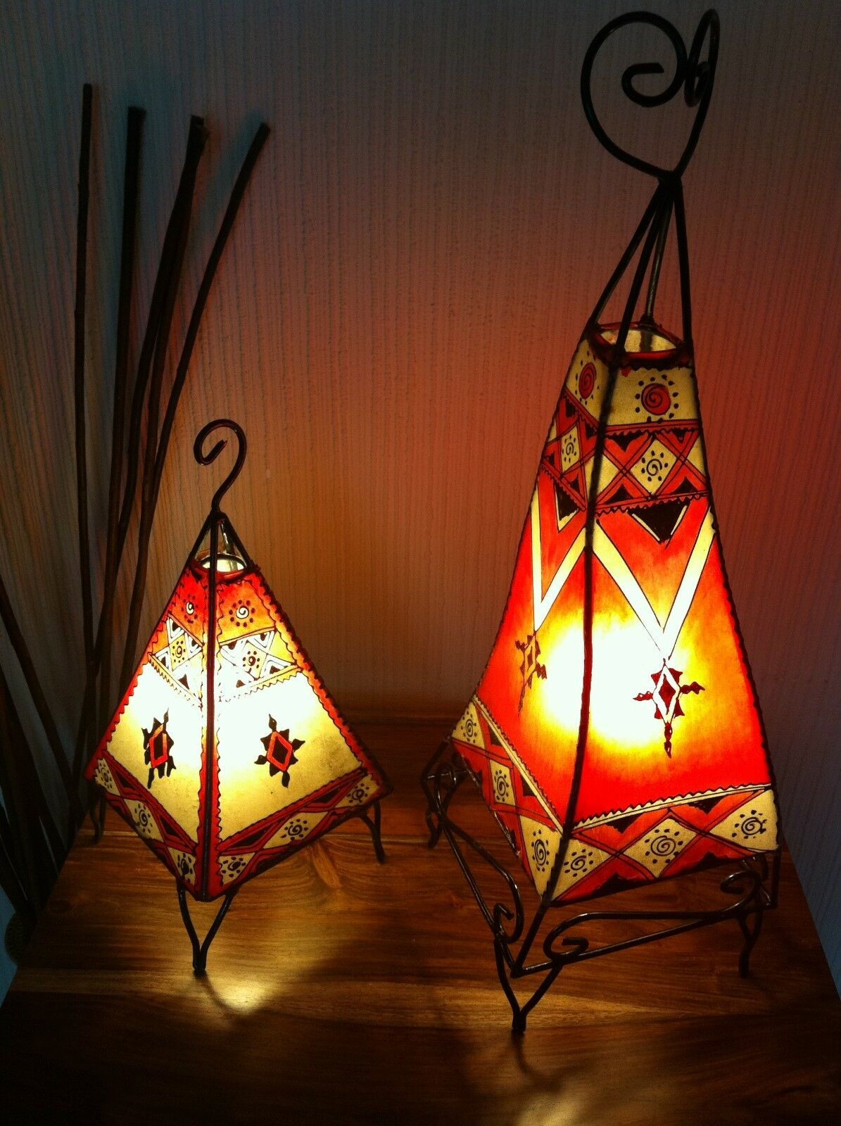 MGoldccan Twin Painted Henna Lamps-square - 60Cm & pyramid 38 cm rot