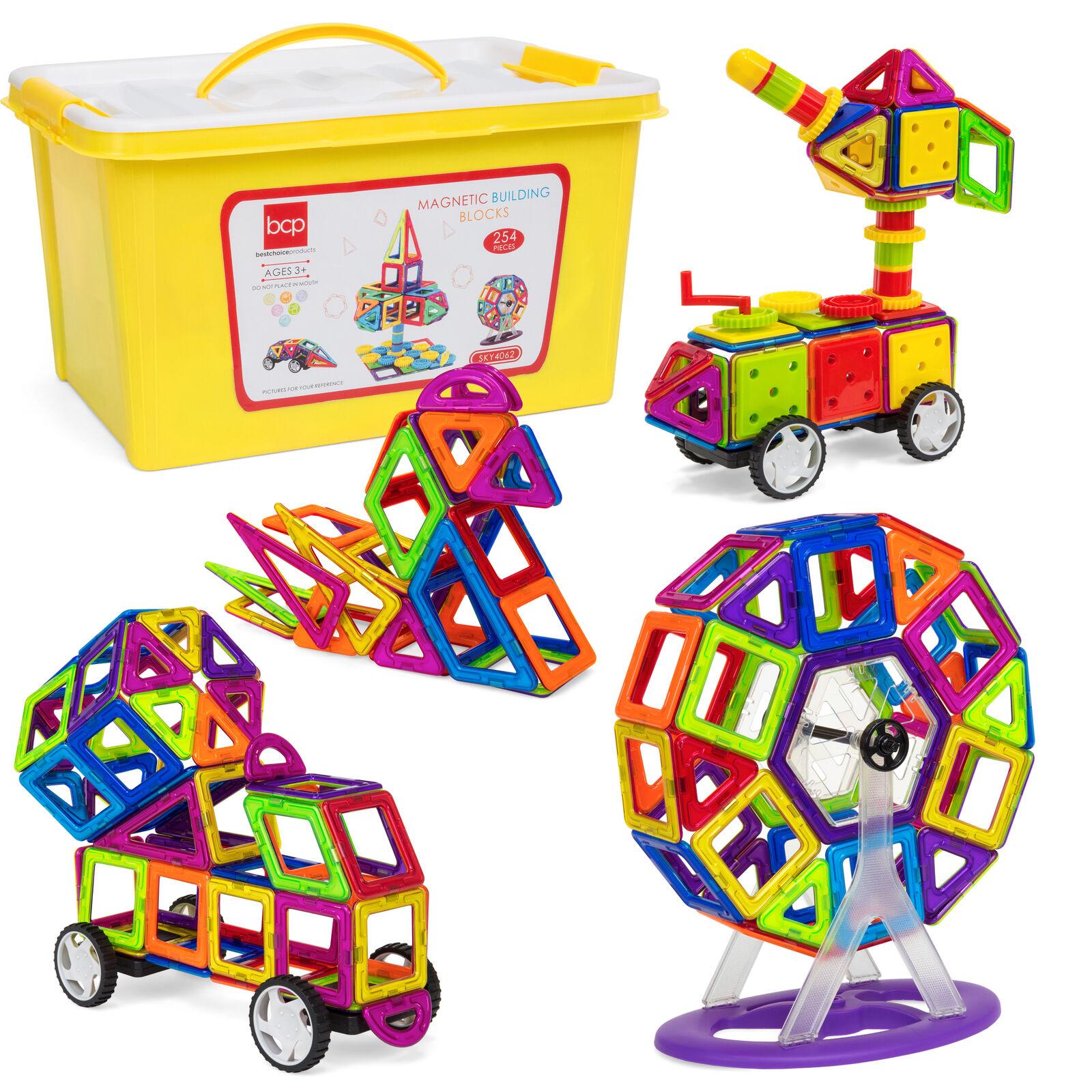 BCP 254-Piece Kids Magnetic Building Tiles Toy Set w  Storage Box - Multicolor