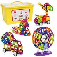 254-Piece Kids Magnetic Building Tiles Toy Set with Storage Box