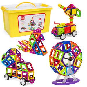 BCP-254-Piece-Kids-Magnetic-Building-Tiles-Toy-Set-w-Storage-Box-Multicolor