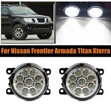 Pair Led Bumper Lamp Fog Light For Frontier Armada Titan Xterra Pc Lens