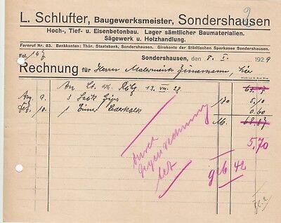 L Sondershausen Rechnung 1929 Schlufter Baugewerksmeister SchnäPpchenverkauf Zum Jahresende