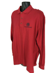 Volkswagen-Polo-Shirt-Mens-Size-XXL-2XL-Red-Long-Sleeve-Knit-Made-In-USA