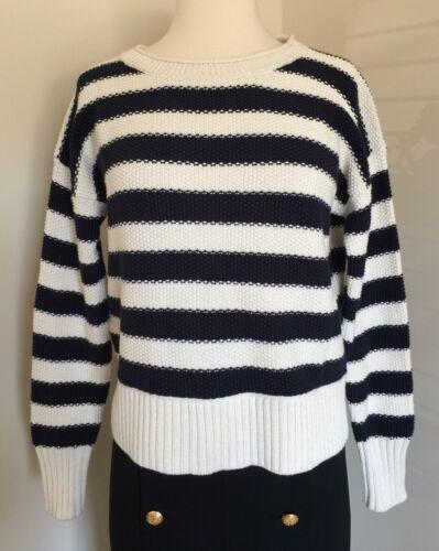Xs F9322 Sweater Nwt Ivory Indigo Cotton Striped Ho16 Soldout Sz Jcrew qOOxwRHXf