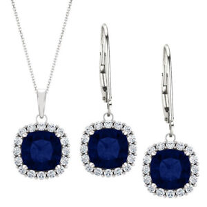 3.60 tcw. 6mm Cushion Created Sapphire & Created White Sapphire Set
