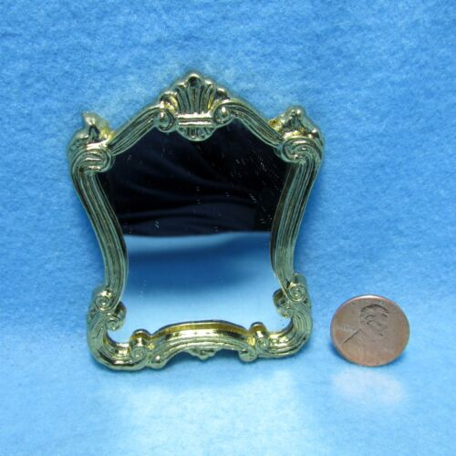 Dollhouse Miniature Gold Tone Wall Mirror ~ CLA04257