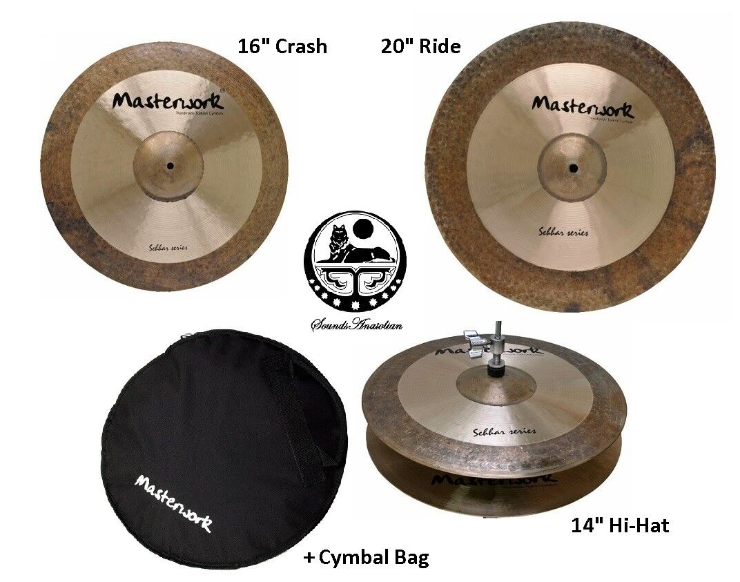 Masterwork Cymbals Sehhar Cymbal Pack Box Set (14HH-16CRS-20R+Bag)