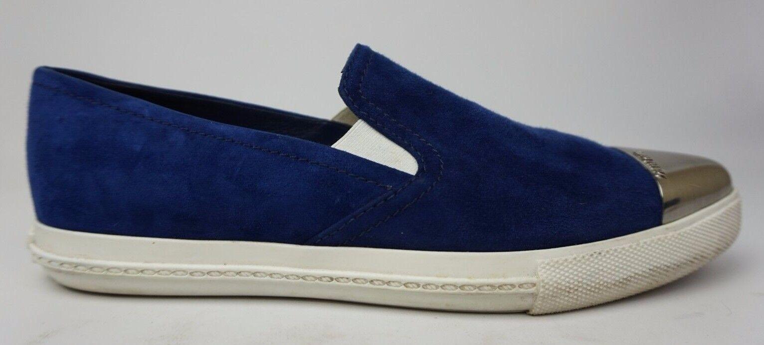 Miu Miu Metal Cap Toe bluee Suede Sneakers shoes Size 38.5