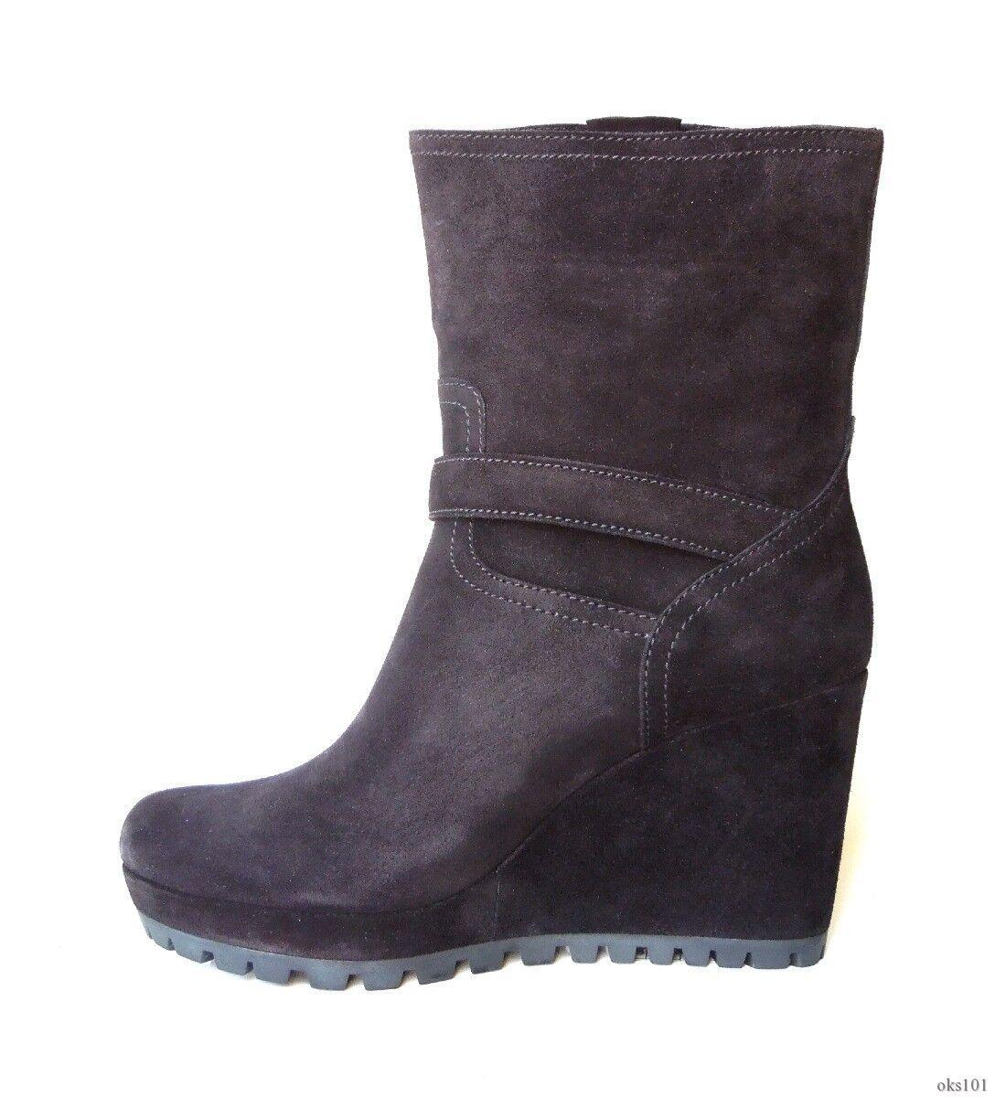 Nouveau  790 PRADA en daim noir à à à boucle plateforme talon compensé Bottines Bottes Chaussures-Hot 9ad941