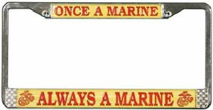 USMC-ONCE-A-MARINE-ALWAYS-A-MARINE-METAL-LICENSE-PLATE-FRAME-MADE-IN-THE-USA