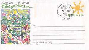 (13975) Australie Entiers Postaux Fdc Poste Aérienne 13 Février 1989-afficher Le Titre D'origine