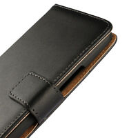 For HTC One M9 Black Genuine Real Leather Business Wallet Case Cover Stand