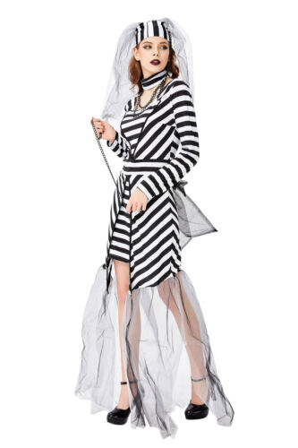 Womens Carnival Party Inmate Prisoner Fancy Dress Ghost Vampire Bride Costume