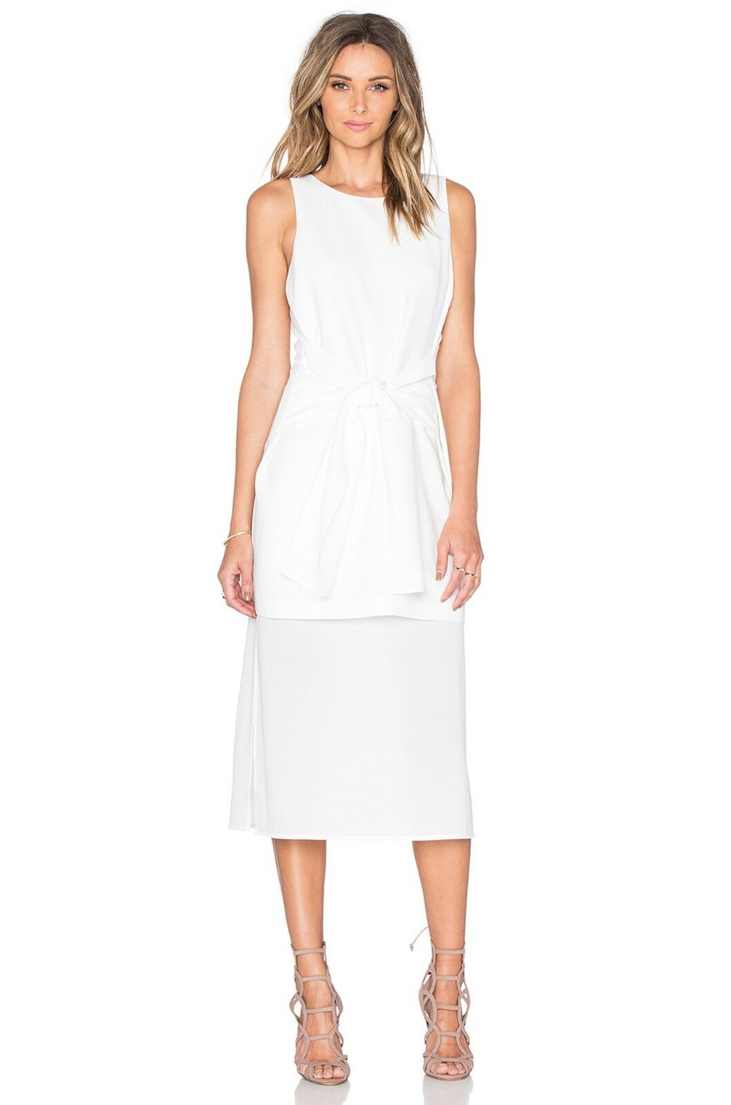 J.O.A.Tie Front Front Front Midi Dress White Sz S & M  75 NWT 95a707