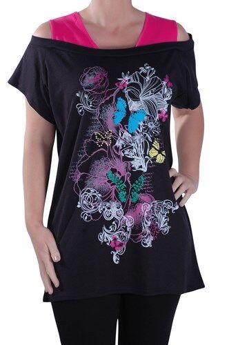 Damen Grafik Schmetterlings Druck Twinset Einfugen Weste Bluse Tunika Oberteil