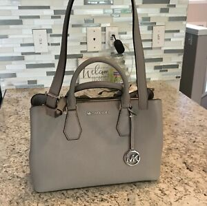NWT-NEW-Michael-Kors-Camille-Leather-Large-Satchel-Pearl-Grey-38F9SCAS3L-378