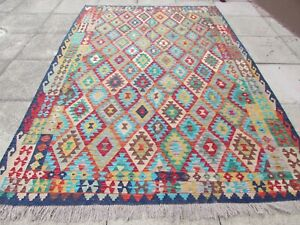 Vintage-Kilim-Traditional-Hand-Made-Oriental-Blue-Red-Wool-Kilim-Rug-295x206cm