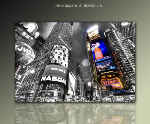 90x60cm WANDBILD Time Square auf Leinwand gerahmt Kunst DESIGNBILDER