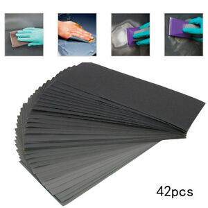 42pc Mixed Wet and Dry Waterproof Sandpaper 120-3000 Grit Sheets Sander Paper