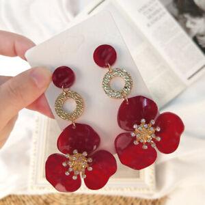 Fashion-Women-flower-Acrylic-Resin-Dangle-Ear-Studs-Earrings-jewelry-Gift