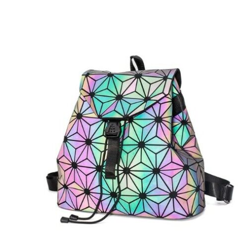 Details about  /Large Geometric Backpack Luminous Reflective Holographic Laser Festival Rave Bag