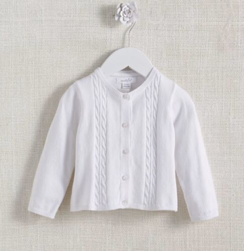 Mud Pie Baby Girls White Cable Knit Cardigan Sweater Size 0-3 Months