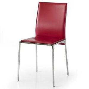 Sedia in metallo cuoio rigenerato imbottita ebay for Sedie in cuoio