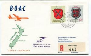 Capable Ffc 1965 Boac First Flight Zurich Auckland Neusseland Registered Liechtenstein