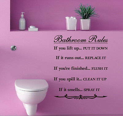 'Bathroom Rules' Wall Quotes Vinyl Sticker, Home DIY Decor Wall Stickers/Decal