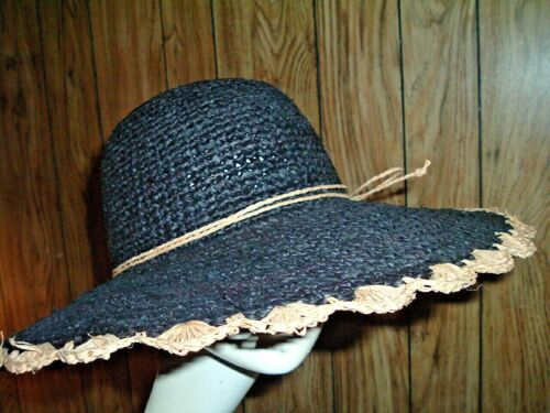 Vintage Ladies wide brim Beige Straw Hat with Burgundy Tulle banding that crosses  over front and ties at back