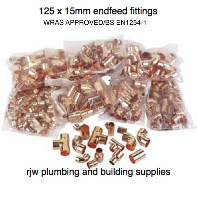 25 X 15MM COPPER END FEED MIXED FITTINGS PACK JOB LOT